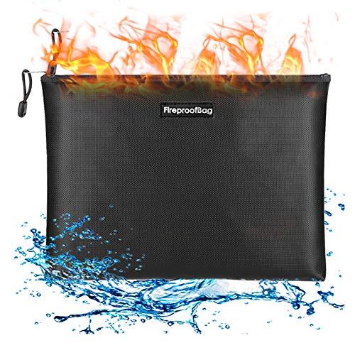 Brandsäker dokumentväska, Fesjoy brandsäker dokumentväska silikonbelagd glasfiber brandsäker och vattentät pengarpåse med dragkedja stängning säker förvaringspåse för A4-fil kontantkort smycken pass