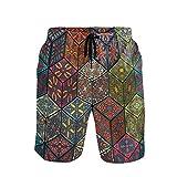 Emoya - Bañador para hombre, diseño de mandala vintage, con bolsillos Multicolor Multicolor XXL