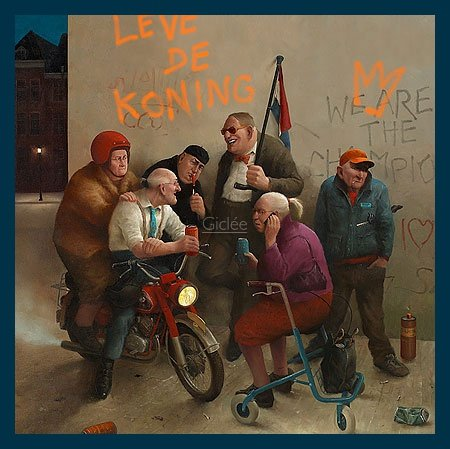 Bild mit Rahmen Marius van Dokkum - Long live the king! - Holz blau, 30 x 30cm - Premiumqualität - , Karikatur, Senioren, Alt-Rocker, Motorrad, Rollator, Graffiti, cool, lustig, komisch, Wo.. - MADE IN GERMANY - ART-GALERIE-SHOPde