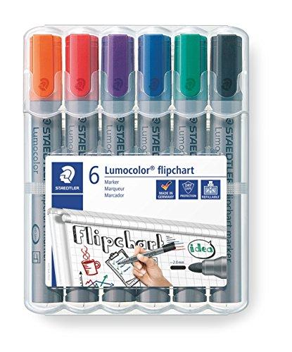 STAEDTLER Lumocolor 356 WP6 Flipchart-Marker, Rundspitze ca. 2 mm Linienbreite, Set mit 6 Farben, ideal für Flipchart-Blöcke, farbintensiv, geruchsarm, hohe Qualität