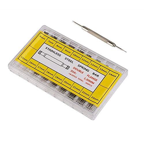 Kit di Cinturino Orologiaio Strumento di Riparazione,360 Pezzi Perni a Molla Spring Bars con Strumento di Riparazione per Rimozione 6-23mm