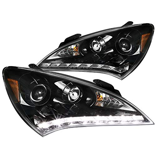 Spec-D Tuning For Hyundai Genesis 2Dr Coupe SMD LED Jet Black Projector Headlights Pair