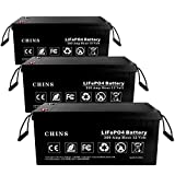 3 PCS 12V 200Ah LiFePO4 Deep Cycle Battery, Built-in 100A BMS, 2000-5000 Cycles, 200amp Max, Perfect for RV, Solar, Marine, Overland, Off-Grid