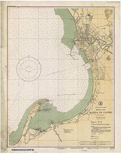 Vintography Reprinted 8 x 12 Nautical Map of Manila Bay : Manila to Cavite 0 C&GS 93a