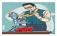 エンジニアの玄関マット、科学者の教師がロボット学生の読書に取り組んでいる漫画の描画教育、装飾ポリエステル床マット、40x60 cm