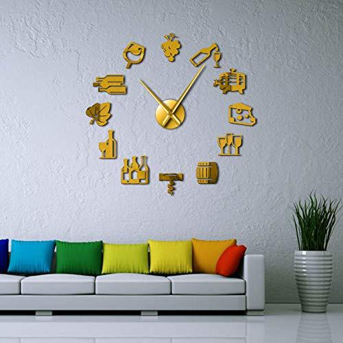 PYIQPL Reloj de Pared silencioso Gigante DIY sin Marco Moderno de Queso y Vino, Signo de Barra de Pub, Bebida alcohólica, Tornillo de Corcho, Reloj de Pared Decorativo Dorado (47inch)