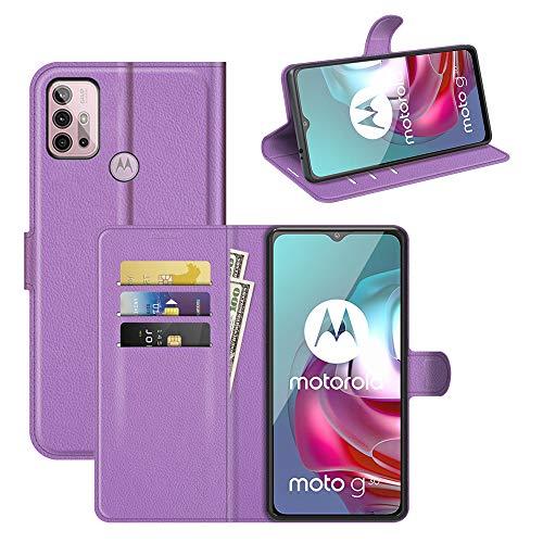Fertuo Hülle für Motorola Moto G30 / Moto G10 / Moto G20, Handyhülle Leder Flip Hülle Tasche mit Standfunktion, Kartenfach, Magnetschnalle, Silikon Bumper Schutzhülle Cover für Moto G30 / G10, Lila