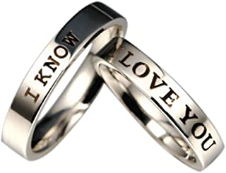 Engagement Rings for Women Men, I Love You Titanium Steel I Know Couples Promise Wedding Rings