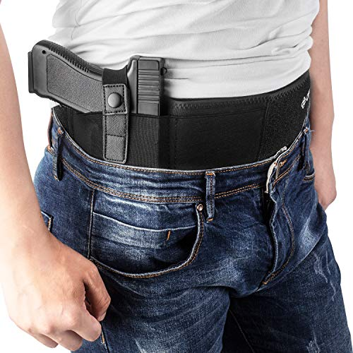 Belly Band Holster XL for Concealed Carry, IWB Gun Holsters for Men Women, Most Comfortable Waistband Handgun Carry with Magazine Pouch, One Holster Fits Most Pistol&Revolvers, BONUS Movable Mag Pouch