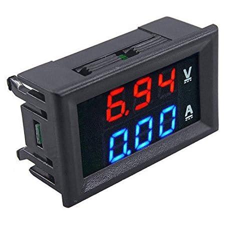 Dual Display Digital Voltmeter Amperemeter Spannungsanzeig Multimeter 100v 10a Red Blue 10a Baumarkt