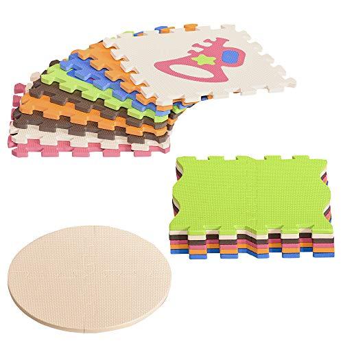 HOMCOM Puzzlematte 25 Teile mit Musikinstrumenten Kinderspielteppich Matte Spielmatte Bodenschutzmatte Bodenmatte für 0-14 Jahre EVA Bunt 120 x 90,5 x 16,5 cm