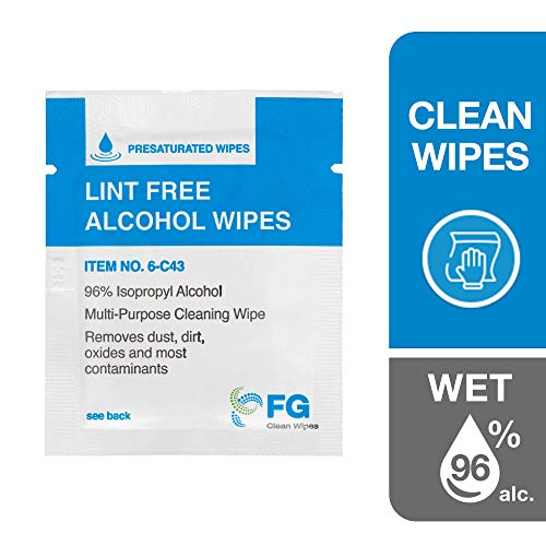 FG Clean Wipes 4'x3' Lint Free Alcohol Wipes - 96% IPA Box of 60 Individually Wrapped Sachets (6-C43)