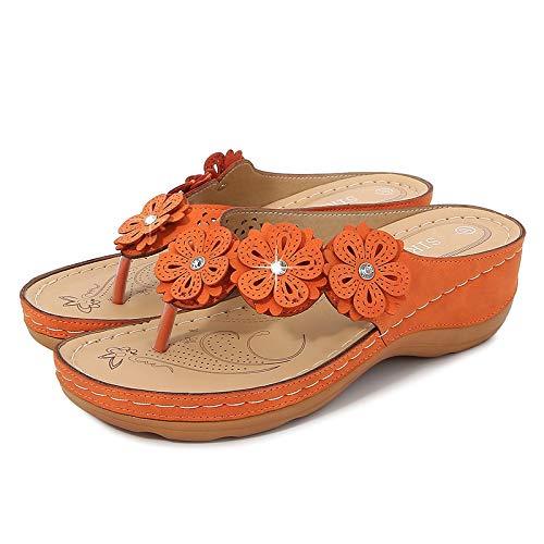 Color Sólido Naranja Clip De Fondo Grueso Pies Zapatillas De Mujer Sandalias Casuales De Playa Sandalias De Mujer Tacón De Cuña Zapatos De Mujer