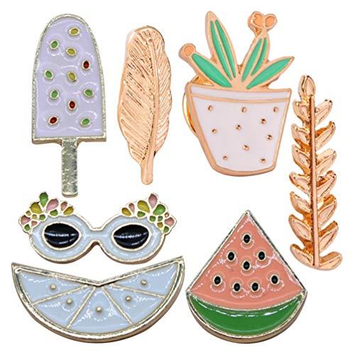 PRETYZOOM - Juego de 7 broches de dibujos animados con plumas para plantas, sandía, luna, hielo, broches, broches, broches, broches, pins