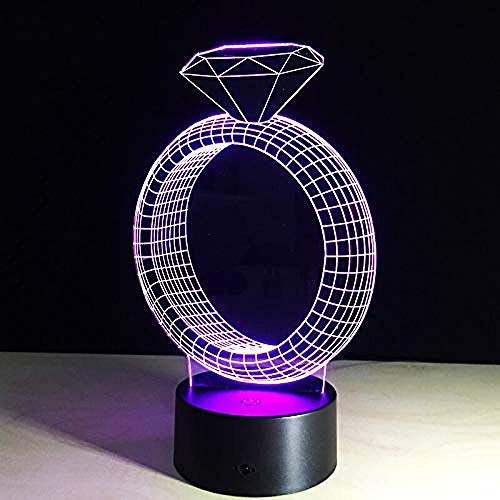 Romantische 3D Illusie Tafellamp Nachtlampje met Diamanten Ring Vorm 7Kleur Verander Lichten voor Valentijnsdag Vriendin Bed Lamp
