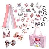 Auidy_6TXD 36 Stücke Kinder Schleife und Haargummis Set, Mädchen Kinder Haarbögen Haarclip für Kinder Geburtstagsgeschenk Kindertagsgeschenk