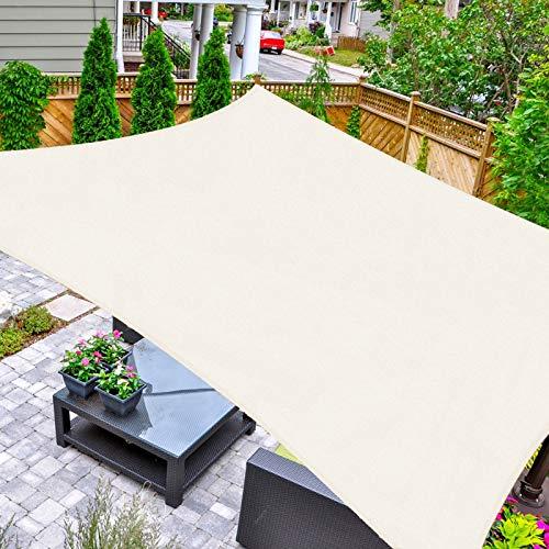 HAIKUS Toldo Vela Cuadrado 5x5 m, Vela de Sombra HDPE, Transpirable, Resistente y 95% Protección Rayos UV para Exterior, Jardín, Terrazas (Crema)