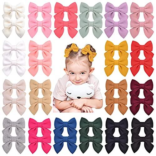 40 unidades/20 colores para bebé, niñas, lazos de fieltro, horquillas para el pelo, accesorios para el pelo para niños pequeños y niñas pequeñas.