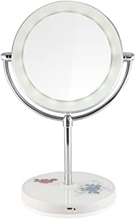 NYDZDM Double-Sided Desk-Style Mirror with A Lamp Make-up Mirror 10 Times Magnifying Dressing Mirror (Color : White)