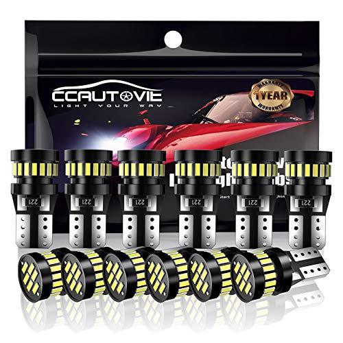 CCAUTOVIE 12PCS T10 LED Ampoules de Voiture,canbus sans erreur W5W 194 168 Xénon 6000K 3014 Chipset LED,Ampoules de LED pour Lumière dôme voiture intérieur Carte Côté Feux de Plaque Immatriculation