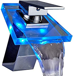 FChome LED Modern Glass Waterfall Faucet Bathroom Basin Sink Faucet Chrome Finish with 3 Color Changing RGB Lights Faucets