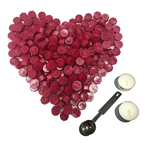 Botokon Wine Red Sealing Wax Beads, 150 Pieces Octagon Wax Seal Beads Kit with a Wax Melting Spoon and 2 Pieces Candles for Wax Seal Stamp