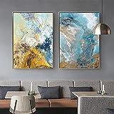 SHKJ Pintura escandinava Moderna, póster de Pared con Paisaje Marino Abstracto Azul e Impresiones, decoración de Sala de Estar, Cuadros de Pared, 30x50 cm / 11,8'x 19,7' X2 Sin Marco
