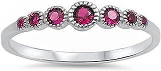 925 纯银七种圆形仿钻和宝石 AAA CZ 戒指尺寸 4-10 种颜色可选