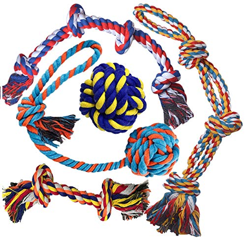 GaiusiKaisa XL Dog Toys (Extremely Durable and Strong) for Large and Medium Dog– Large Dog Rope Toys for Aggressive CHEWERS- Elastic Solid Dog Ball–Tug of War Rope Ball for Chewing,Teething