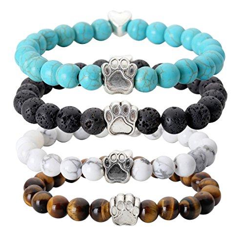 Jovivi 4pc Vintage Lava/Turquoise/Tiger Eye Stone Healing Power Crystal Dog Paw Charm Elastic Stretch Beaded Bracelets