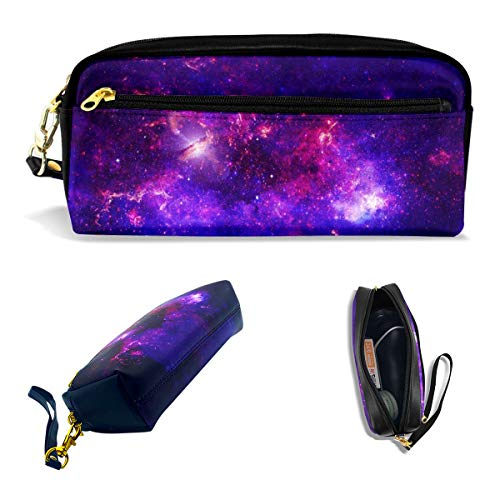 AHOOCUSTOM Purple Galaxy Faux Fur Pencil Case for Teen Girls Boys, Big Zipper Leather Cute Makeup Bag for Women Office, Cosmetic Travel Bags School Stationery Soft Solar System Portable Pouch