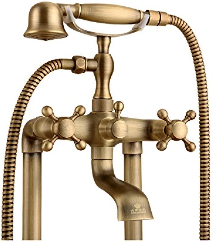 LYYSHS Badezimmer-Duschsystem-Set Badesystem im europischen Stil Retro Antik Kupfer Dusche Set Dusche Badewanne Dusche Wasserhahn Boden stehend Wasserhahn