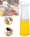 Ölsprüher Flasche Öl Sprayer Olivenöl Spender Glas 210ml Verbessertes Oil Sprayer für Salat, BBQ, Backen, Pasta, BPA-Free Safe für Küche Kochen (Weiß)