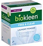 Biokleen Free & Clear Natural Laundry Detergent - 150 Loads - Powder, Concentrated, Eco-Friendly, Plant-Based, No Artificial Fragrance or Preservatives, Free & Clear