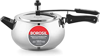 Borosil Pronto Stainless Steel Pressure Cooker, 5L