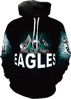 Men's Long Sleeve Hooded 3D Print Philadelphia Eagle Football Team Pullover Hoodies