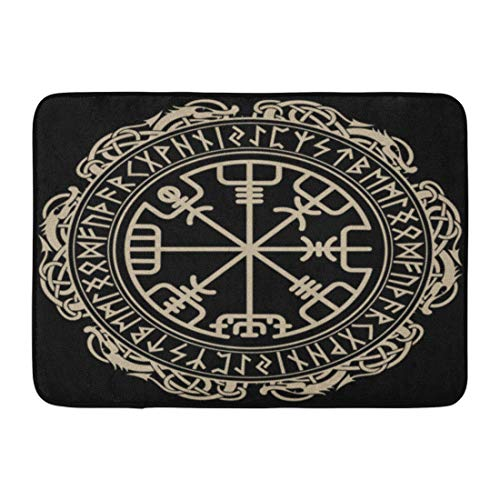 Emvency Doormats Bath Rugs Outdoor/Indoor Door Mat Celtic Viking Magical Runic Compass in The Circle of and Dragons Tattoo Bathroom Decor Rug Bath Mat 16' x 24'