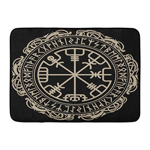 Emvency Doormats Bath Rugs Outdoor/Indoor Door Mat Celtic Viking Magical Runic Compass Circle Dragons Tattoo Bathroom Decor Rug Bath Mat 16' x 24'