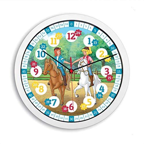 Lautlose Bibi und Tina Kinder Wanduhr Lernuhr Pferde Uhr für Mädchen und Jungen Kinderwanduhr 30 cm Ø (Bibi und Tina)
