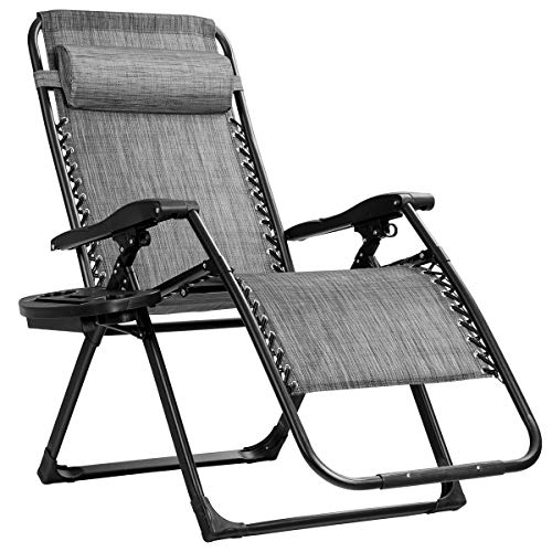 Goplus Zero Gravity Chair, Lounge Chair with Cup Holder, Breathable Fabric, Detachable Headrest & Replaceable Elastic Cords, Heavy Duty XL Folding Chaise for Pool, Patio, Beach, Yard (Gray)