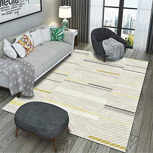 Suave Habitacións Moqueta Gris Sala de estar Alfombra gris rayas simple retro salón alfombra antideslizante resistente a la decoloración resistente al desgaste La Alfombrae 180X200CM 5ft 10.9''X6ft 6.