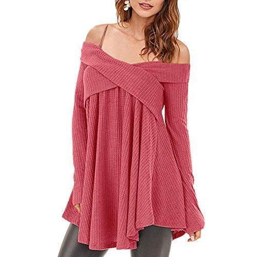 Rosegal Frauen Kalt Schulter Langarm Crossover Sweater Strickpullover Tunika Top (M, Lippenstift ROSA)