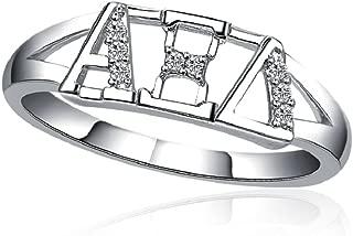 Alpha Xi Delta Horizontal Silver Ring