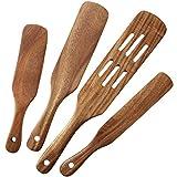 MESSON Spurtle Set, 4Pcs Premium Wood Spurtles Kitchen Tools Wooden Spatula Spoons Utensils Set for Nonstick Cookware Instant Pot Cooking Baking
