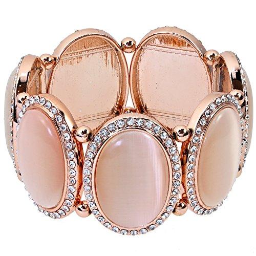 Alfredo Pauly Couture-Schmuck Damen-Flex-Armband Katzenauge Imitat Kristall rosévergoldet