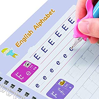 4 PCS Magic Practice Copybook for Kids,4 in 1 Art Painting, Arithmetic,Alphabet,Numbers Handwriting tracing workbooks Set ...
