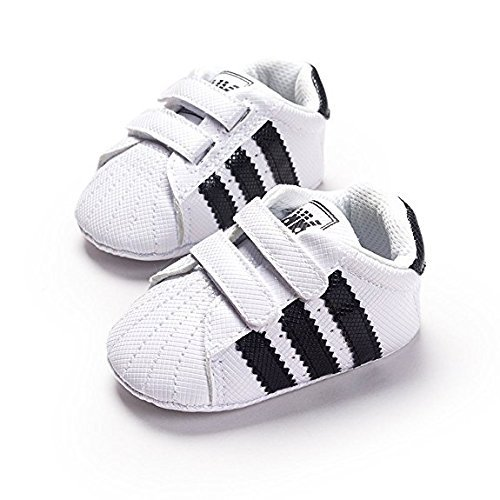 LIVEBOX Newborn Baby Boys' Premium Soft Sole Infant Prewalker Toddler Sneaker Shoes (S: 0~6 Months, White)