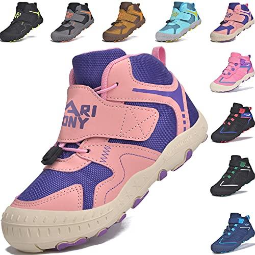 MARITONY Zapatillas de senderismo para niños y niñas, zapatos de trekking, zapatos de niños, antideslizantes, transpirables, para exteriores, con cierre de velcro., color, talla 28 EU