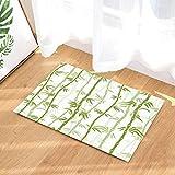 Felpudo antideslizante de interior con diseño de bosque de bambú verde pintado, alfombra de baño, lavable 45 x 75 cm, decoración del hogar