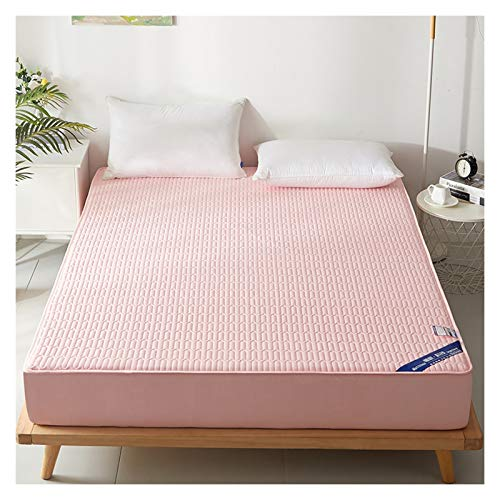 LJP Bedding Quilted Thick Mattress Cover With Skirt Bed Cover Brushed Fabric Comfort Breathable Non Slip Machine Washable (Color : Pink, Size : 180x200cm)